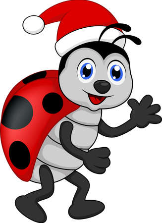 funny lady bug cartoon xmas Vector