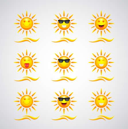cute sun cartoons set