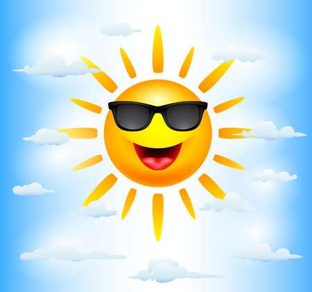 sunbathing: Sun Cartoon Characters Illustration