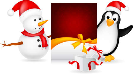 antic: snowman and penguin with christmas card
