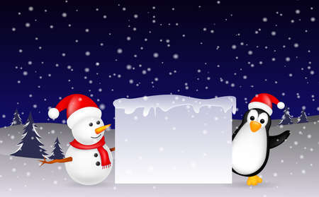 snowman and penguin Christmas with blank sign Vector