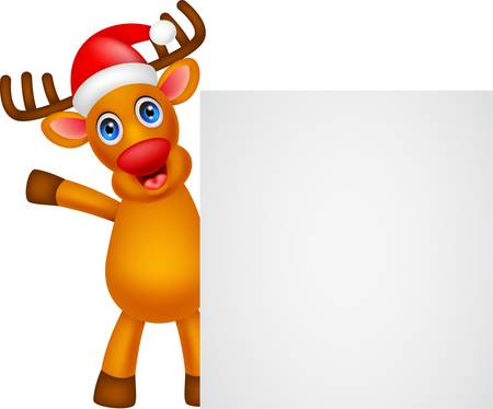 deer cartoon Christmas with blank sign Çizim
