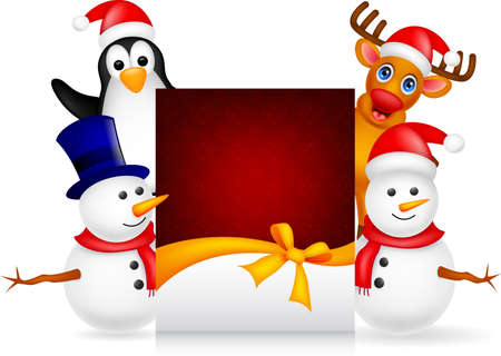 deer,penguin and snowman with christmas greeting card Vector