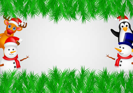 deer,penguin and snowman with blank sign Vector