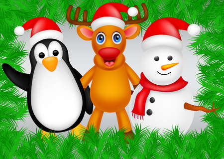 deer,penguin and snowman christmas Vector