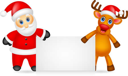 santa claus and deer cartoon with blank sign Çizim