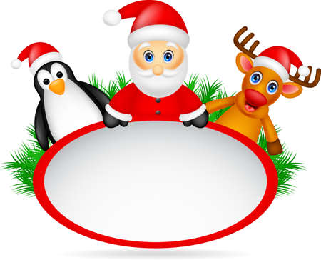 santa claus ,deer and penguin with blank sign