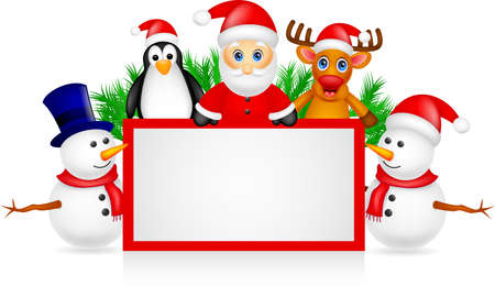 santa claus ,deer, snowman and penguin with blank sign