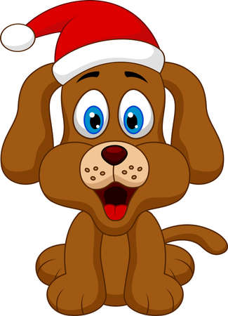 dog cartoon with Christmas red hat Çizim