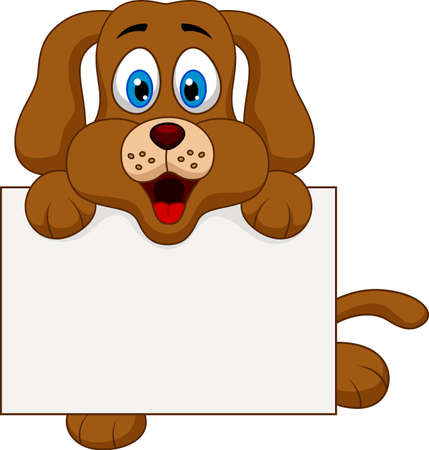 Cute dog cartoon with blank sign Vector