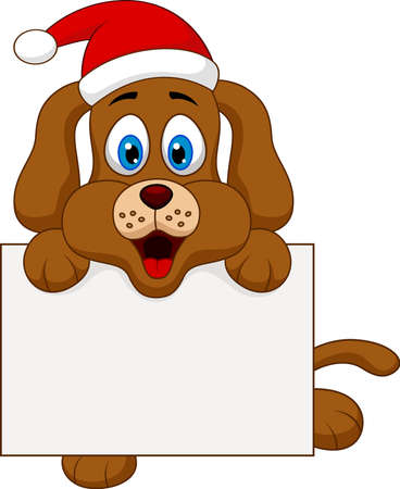 dog cartoon christmas with blank sign