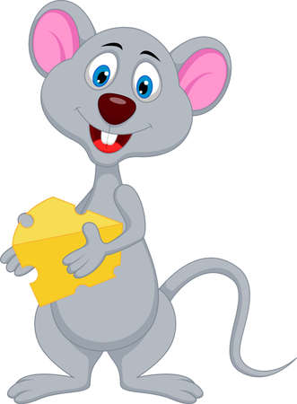 funny mouse cartoon holding cheese Çizim