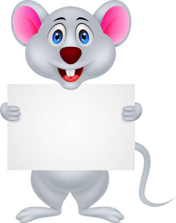 funny mouse cartoon with blank sign Vector