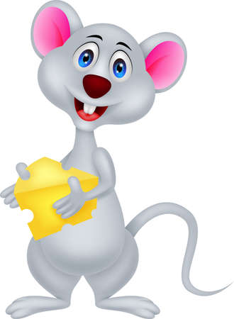hungry kid: funny mouse cartoon holding cheese Illustration