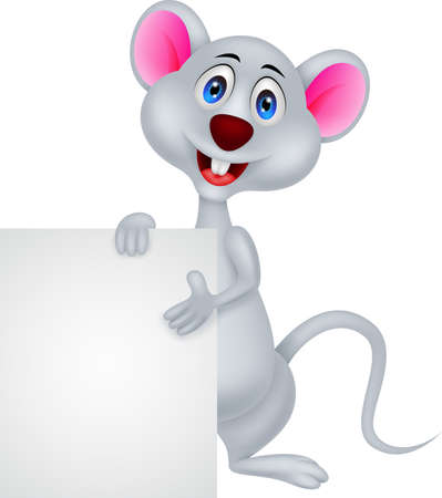 funny mouse cartoon with blank sign Stock Vector - 20889664