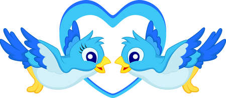 Blue bird cartoon couple