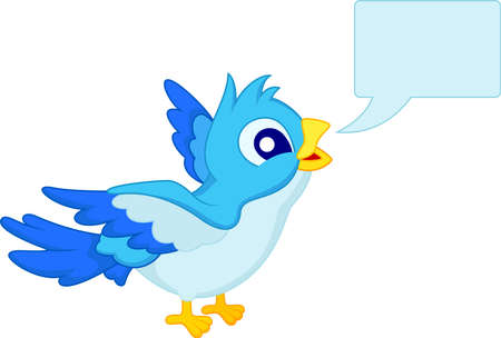 Blue bird with blank sign Vector