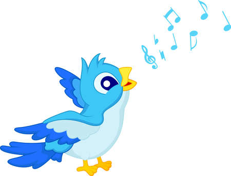 alertness: Cartoon Blue Bird Sing