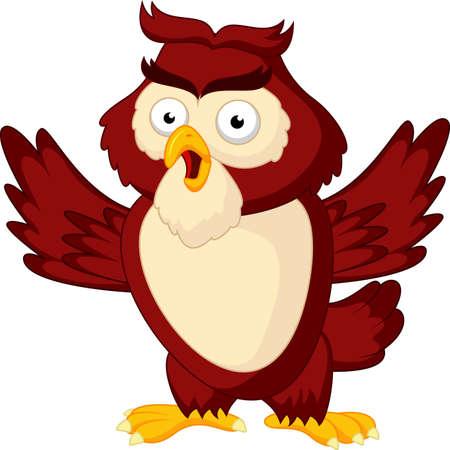 Cute owl cartoon waving wing Çizim