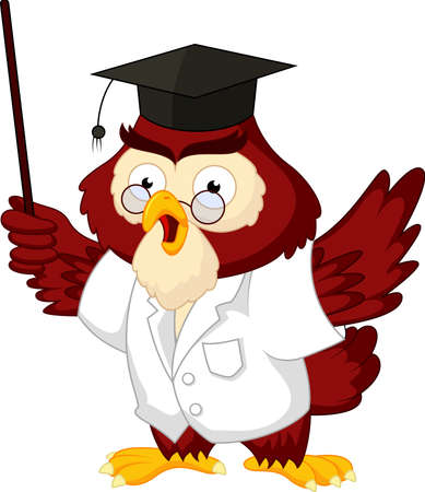 Owl teacher cartoon Vector