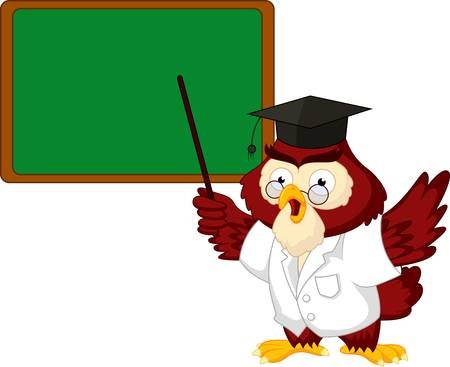 Owl teacher cartoon with board