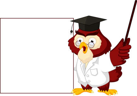 Owl teacher cartoon with blank sign Çizim