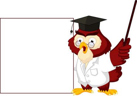 Owl teacher cartoon with blank sign Stock Vector - 21193830