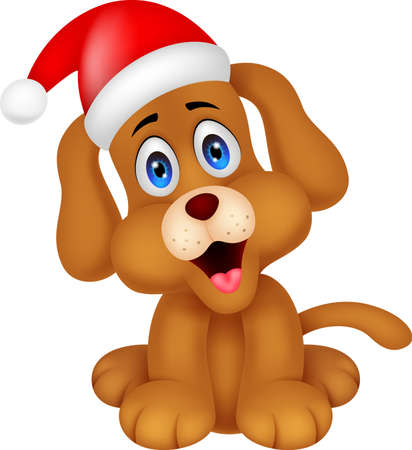 dog cartoon with Christmas red hat Vector