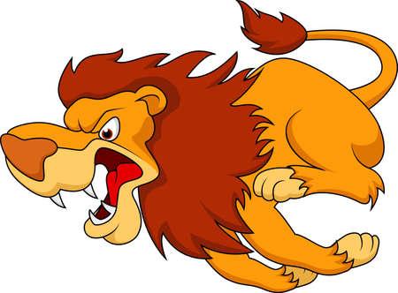 동물: 사자 만화 실행 일러스트