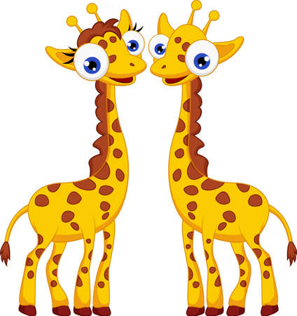 cute giraffe: Carino giraffa cartoon paio Vettoriali