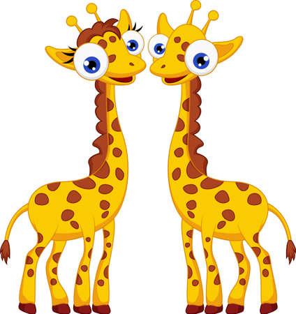 jirafa caricatura: Jirafa linda pareja de dibujos animados