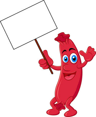 sausage cartoon with blank sign Çizim