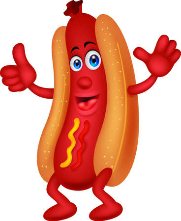 Hot dog cartoon character with thumb up Vector