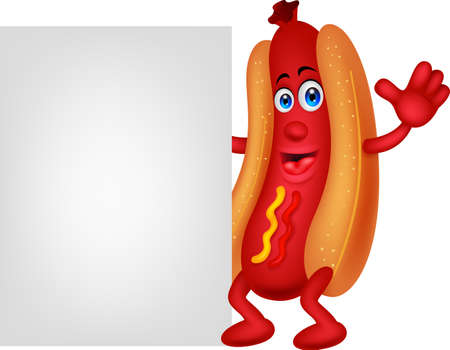 Hot dog cartoon character with blank sign