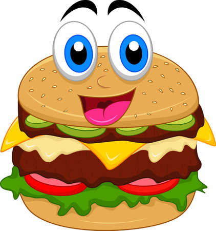 burger cartoon characters with blank sign