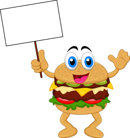 burger cartoon characters with blank sign Vector