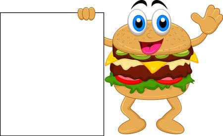 hamburger stripfiguren met lege bord Vector Illustratie