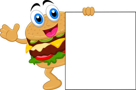 buns: burger cartoon characters with blank sign