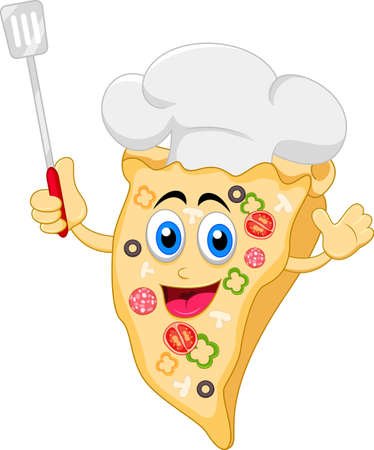 funny cartoon pizza chef character Vector
