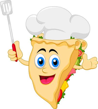 funny cartoon sandwich chef character