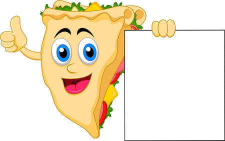 sandwich cartoon character with blank sign Vector