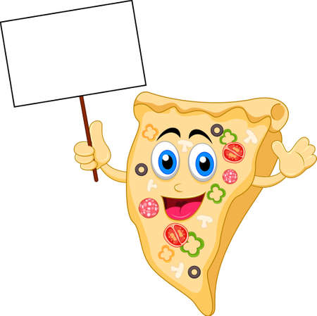pizza cartoon character with blank sign Çizim