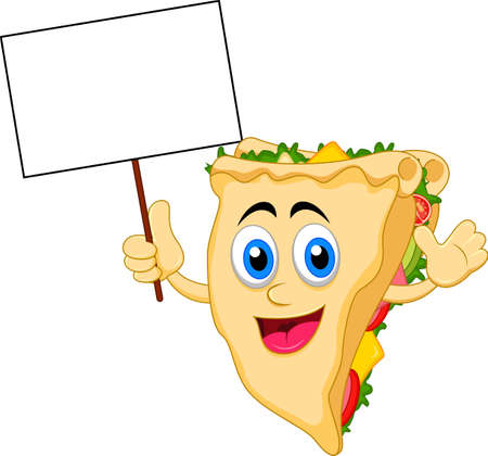 sandwich cartoon character with blank sign