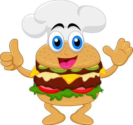 funny cartoon burger chef character Vector
