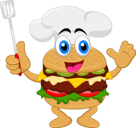 funny cartoon burger chef character