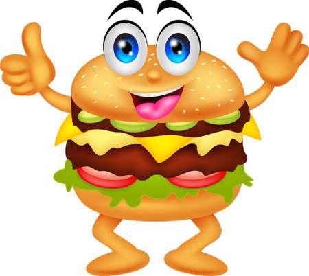 ハンバーガーの漫画のキャラクター  イラスト・ベクター素材