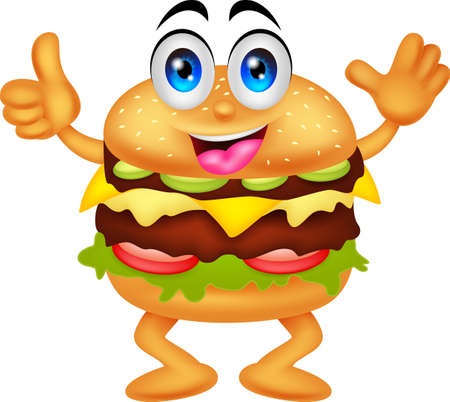burger cartoon characters Ilustrace