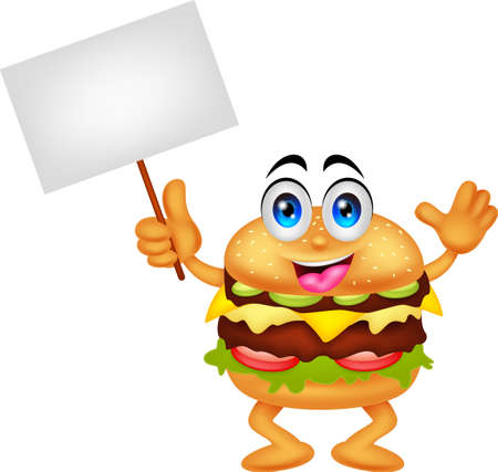food clipart: burger cartoon characters with blank sign