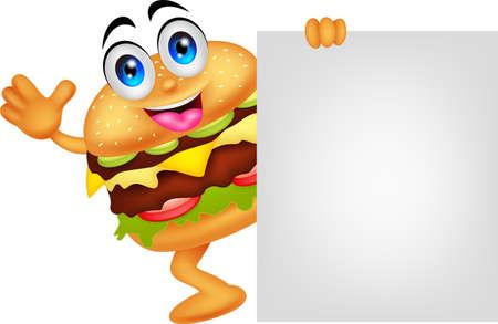 hamburger stripfiguren met lege bord
