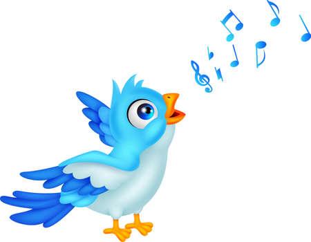 sings: Cartoon Blue Bird Sing